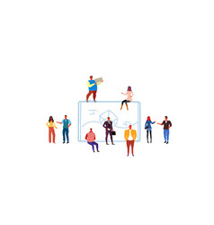 business people group brainstorming smartphone vector image