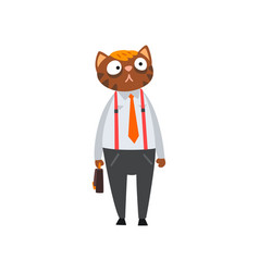 businessman cat in formal clothes with briefcase vector image