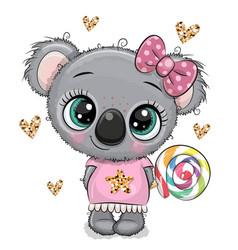 cartoon bakoala in a dress with lollipop vector image
