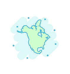 cartoon colored north america map icon in comic vector image