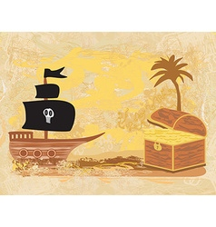 Chest full of gold and a pirate ship vector