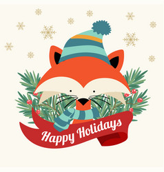 christmas card with tree braches and little fox vector image