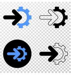 Cog arrow integration eps icon with contour vector