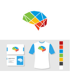 colorful brain logo design with business card and vector image