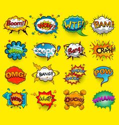 comic speech bubbles screams phrases sounds vect vector image