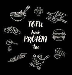 cooking tofu icons with lettering vector image