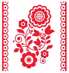 Cute polish floral folk art greeting card vector