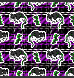 Cute punk rat with lightning on plaid background vector