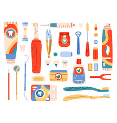 dental care tools oral hygiene products and vector image