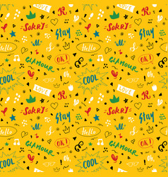 Doodle seamless pattern hand drawn pop art signs vector
