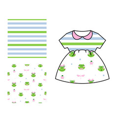 Dress pattern design for girls stripes and frogs vector