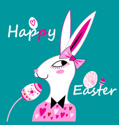 easter card with a funny portrait of a hare and vector image