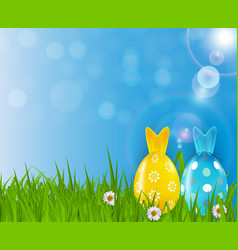 easter poster template with 3d realistic eggs vector image