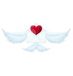 envelope with wings like cupid vector image