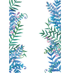 fern leaves watercolor hand painting frame vector image