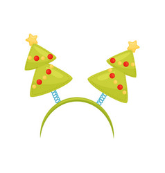 Festive hair hoop with christmas trees holiday vector