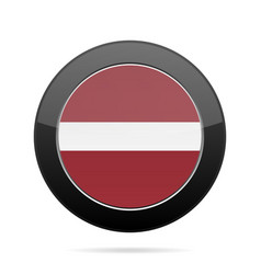 Flag of latvia shiny black round button vector