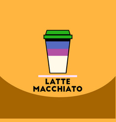 Flat icon design collection latte macchiato to go vector