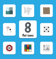 Flat icon games set of poker backgammon chess vector