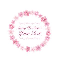 Floral wreath of cherry blossom vector