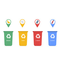 four coded recycling bins for household waste vector image