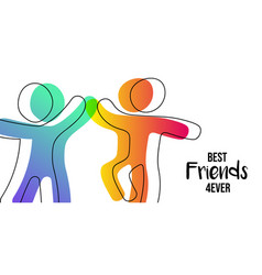 friendship day web banner of friends high five vector image