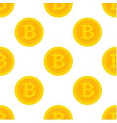 golden bitcoin seamless pattern vector image
