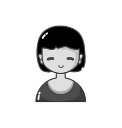 Grayscale avatar girl with blouse and hairstyle vector