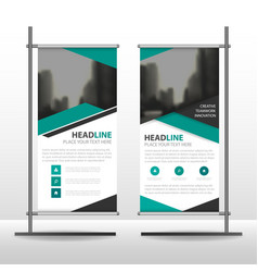green black triangle business roll up banner vector image