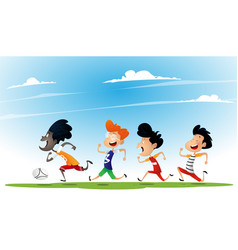 group of multiracial kids play football vector image