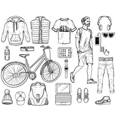 hand drawn sketch with modern man accessories vector image