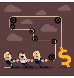Happy businessman pulling rope with dollar vector