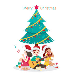 happy children sitting under christmas tree vector image