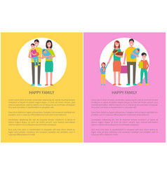 happy family people parents and children with pet vector image