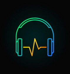 headphones with golden sound wave outline vector image