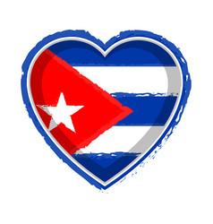 Heart shaped flag of cuba vector