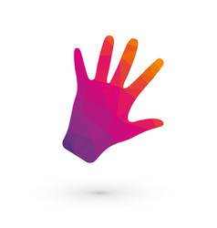 human hand pink orange triangle color fingers vector image