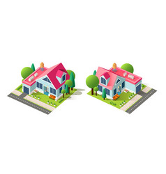isometric left right view house vector image