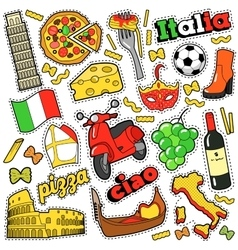 Italy Travel Scrapbook Stickers Patches Badges vector