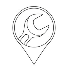 line art car repair service location marker vector image
