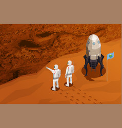 Mars colonization isometric poster vector