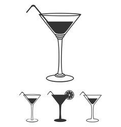 Martini glasses flat icons set isolated on white vector image