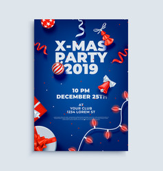 Merry christmas party layout poster template with vector