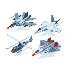military aircrafts isometric 3d airplanes isolate vector image