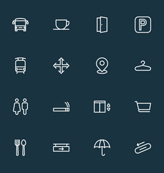 Navigation icons line style set with toilet steps vector