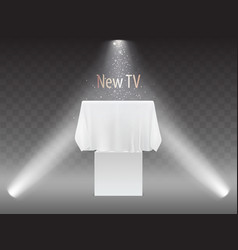 new tv concept screen under white fabric vector image