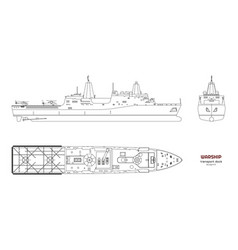 outline image military ship top front side vector image