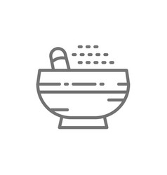 pestle and mortar spice line icon vector image