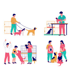 Pet care set flat isolated vector