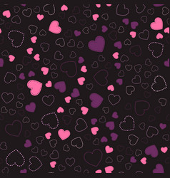Pink hearts romantic pattern vector